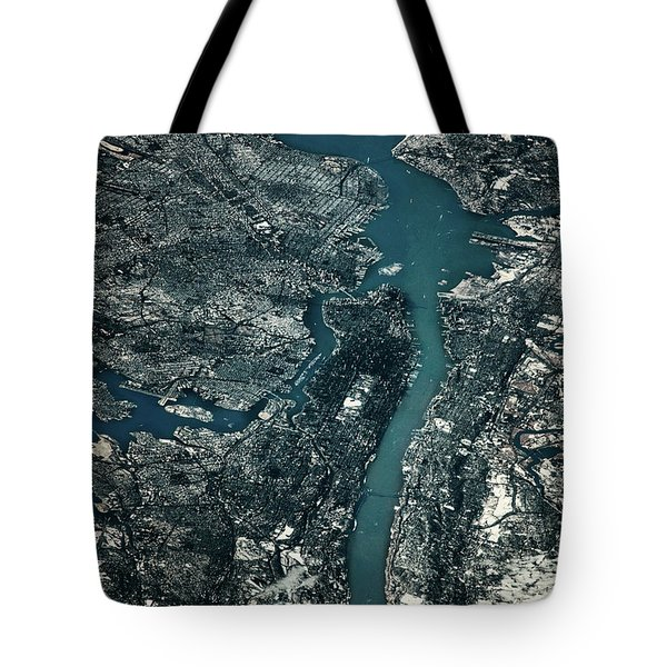 Satellite View Of Cities Of New York Tote Bag