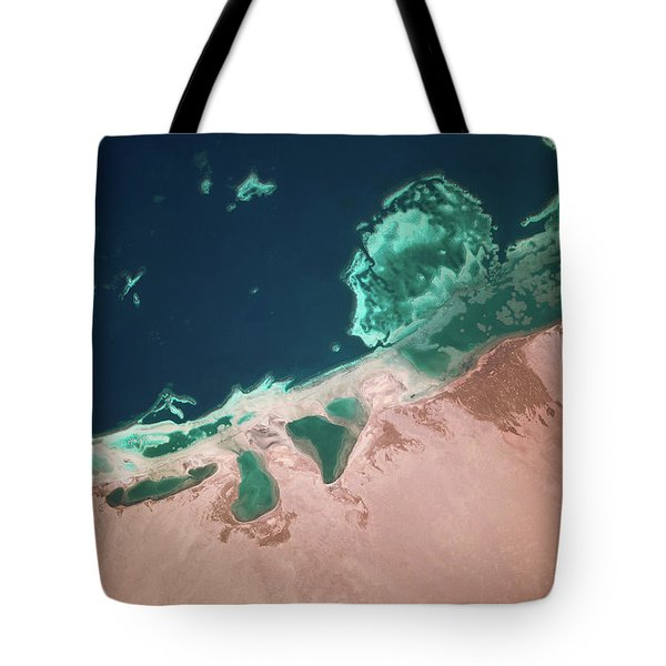 Satellite View Of Coastal Area And Red Tote Bag