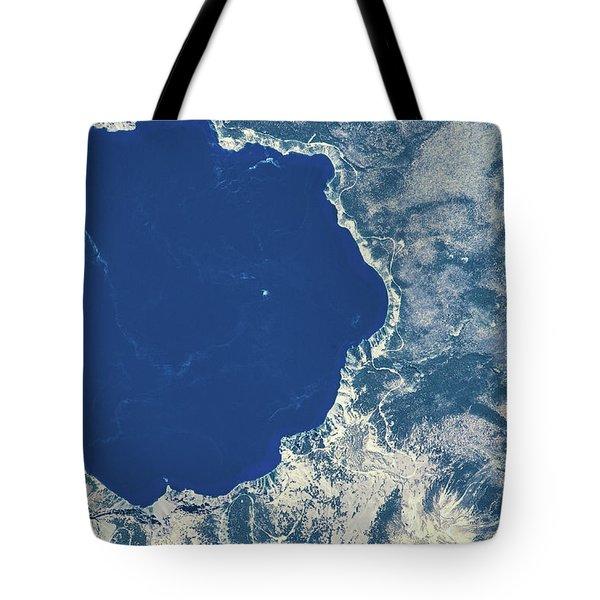 Satellite View Of Crater Lake, Oregon Tote Bag