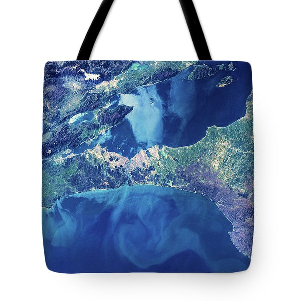 Satellite View Of Istanbul With Sea Tote Bag