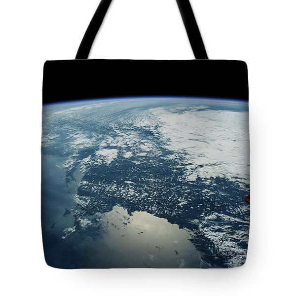 Satellite View Of Planet Earth Showing Tote Bag