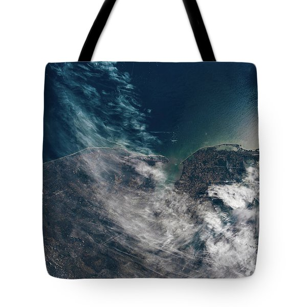 Satellite View Showing Coastal Cities Tote Bag