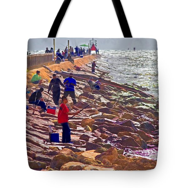 Tote Bag featuring the photograph Saturday Morning On The Surfside Jetty by Gary Holmes