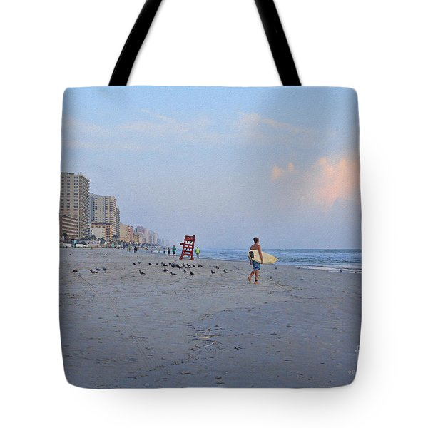 Saturday Morning Surfer Tote Bag by Deborah Benoit