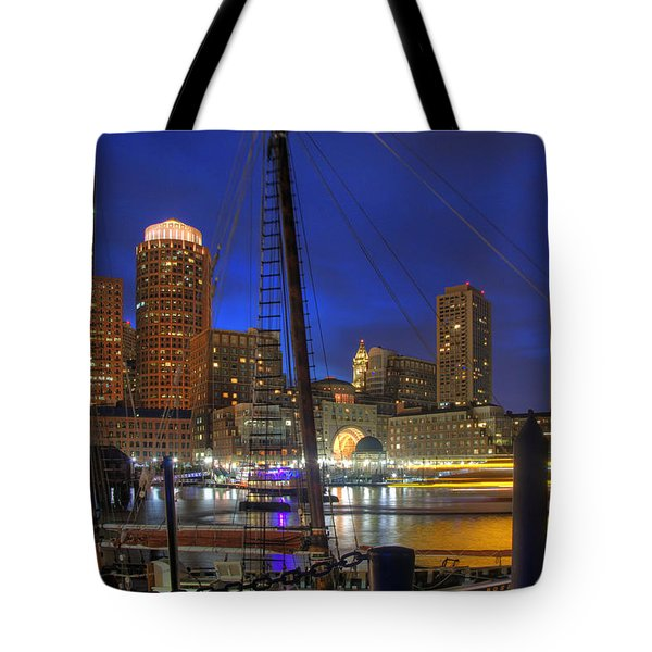 Saturday Night Boston Hustle Tote Bag by Joann Vitali