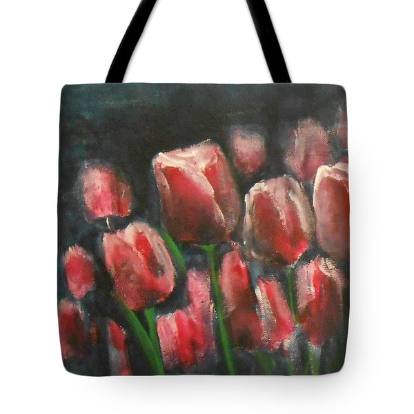 Tote Bag featuring the painting Saucy Tulips 3 by Jane See