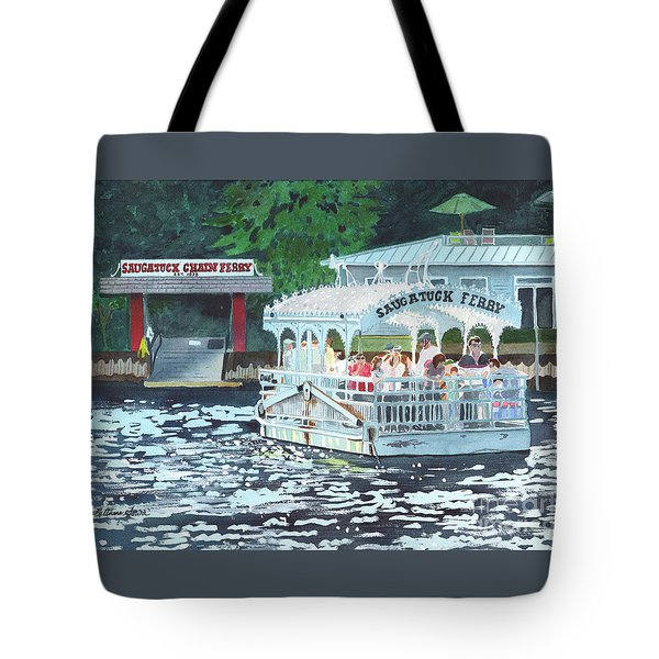 Saugatuck Chain Ferry Tote Bag by LeAnne Sowa