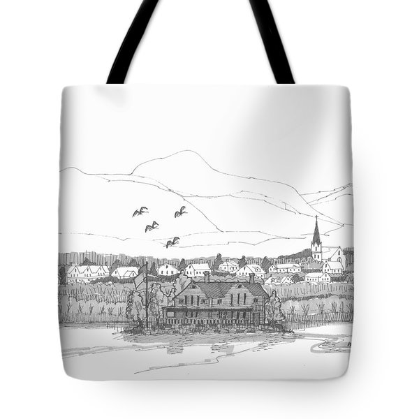Tote Bag featuring the drawing Saugerties From Tivoli by Richard Wambach