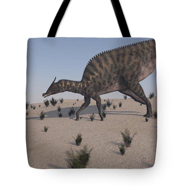 Saurolophus Walking Across A Barren Tote Bag by Kostyantyn Ivanyshen