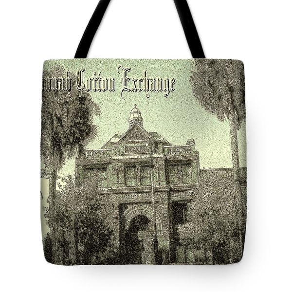 Savannah Cotton Exchange - Old Ink Tote Bag by Art America Gallery Peter Potter