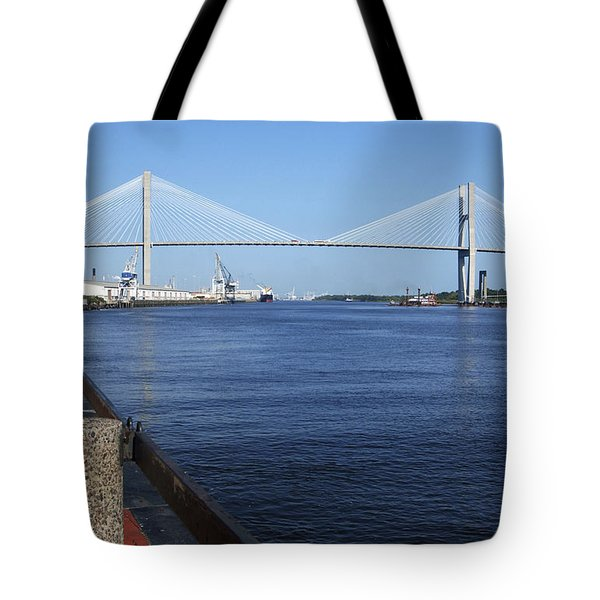 Savannah River Bridge Ga Tote Bag