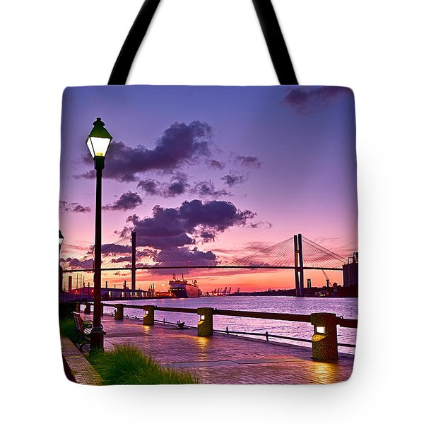Savannah River Bridge Tote Bag by Renee Sullivan