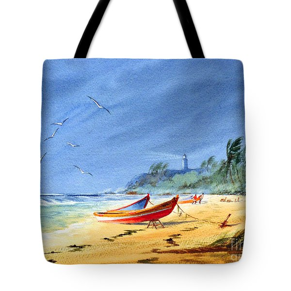Saving The Fishing Boats - Maunabo Beach Puerto Rico Tote Bag