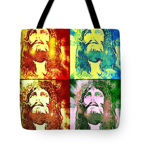 Tote Bag featuring the painting Savior Faces by Dave Luebbert