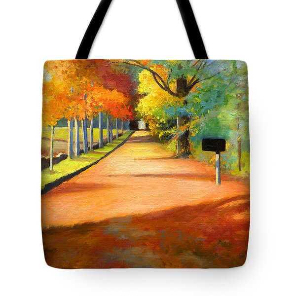 Sawmill Road Autumn Vermont Landscape Tote Bag