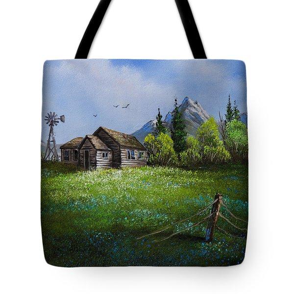 Sawtooth Mountain Homestead Tote Bag by C Steele