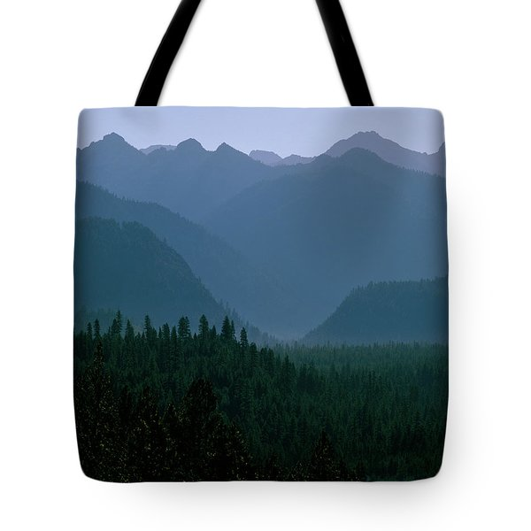 Sawtooth Mountains Silhouette Tote Bag