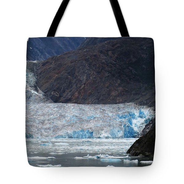 Tote Bag featuring the photograph Sawyer Glacier Blue Ice by Jennifer Wheatley Wolf