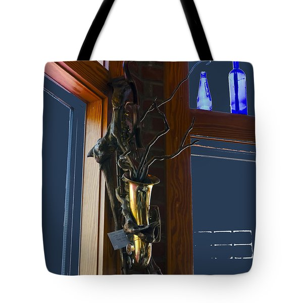 Tote Bag featuring the photograph Sax At The Full Moon Cafe by Greg Reed