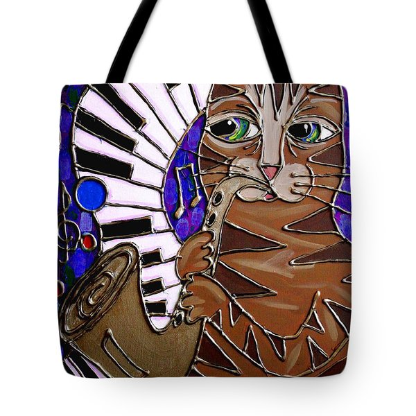 Sax Cat 2 Tote Bag by Cynthia Snyder