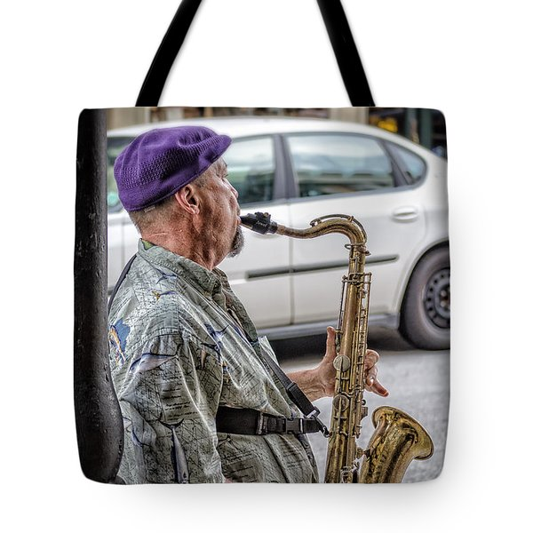 Sax In The Street Tote Bag