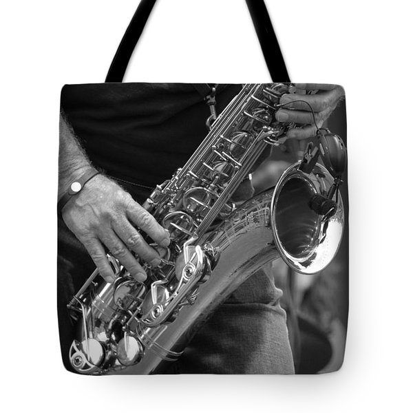 Sax Player Bw Tote Bag by Andy Lawless