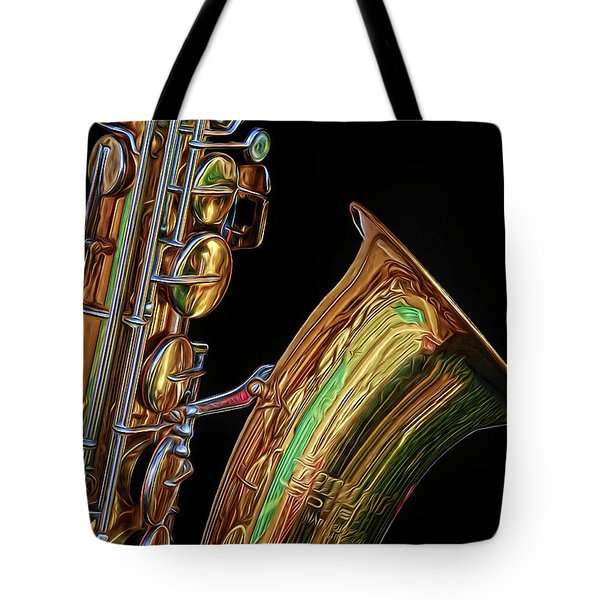 Tote Bag featuring the photograph Saxophone by Dave Mills