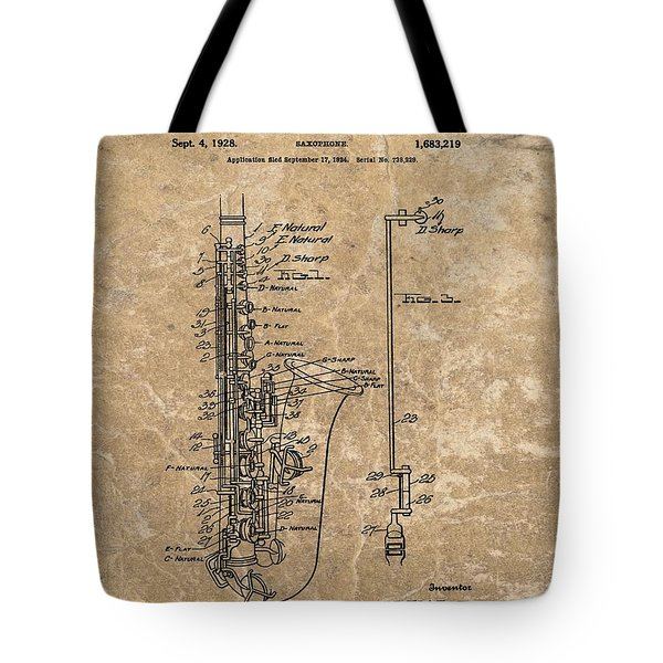 Saxophone Patent Design Illustration Tote Bag