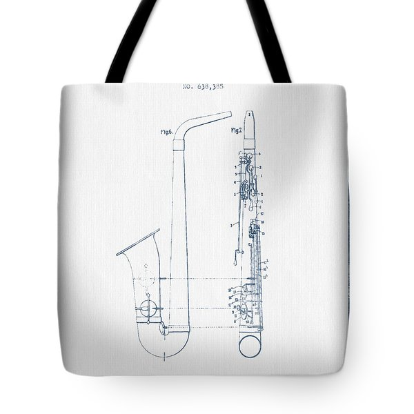 Saxophone Patent Drawing From 1899 - Blue Ink Tote Bag by Aged Pixel