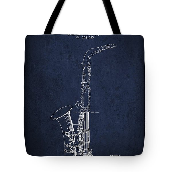 Saxophone Patent Drawing From 1937 - Blue Tote Bag by Aged Pixel