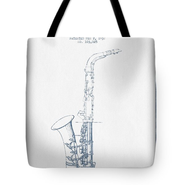 Saxophone Patent Drawing From 1937 - Blue Ink Tote Bag