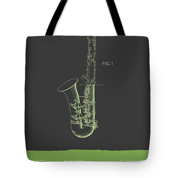 Saxophone Patent From 1937 - Gray Green Tote Bag