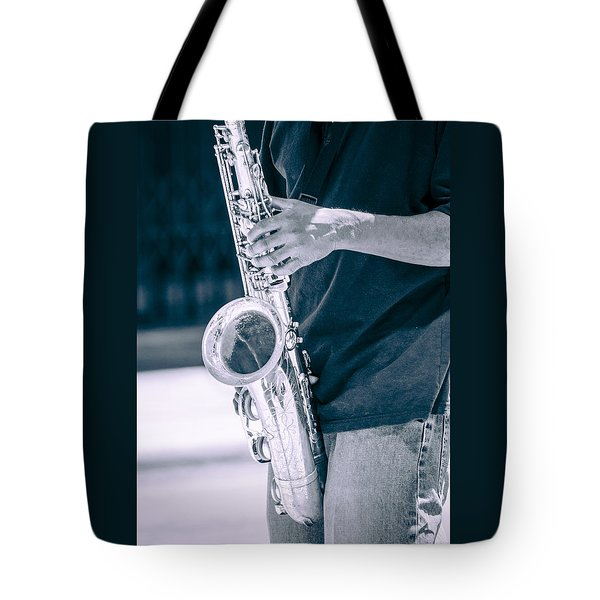 Saxophone Player On Street Tote Bag by Carolyn Marshall
