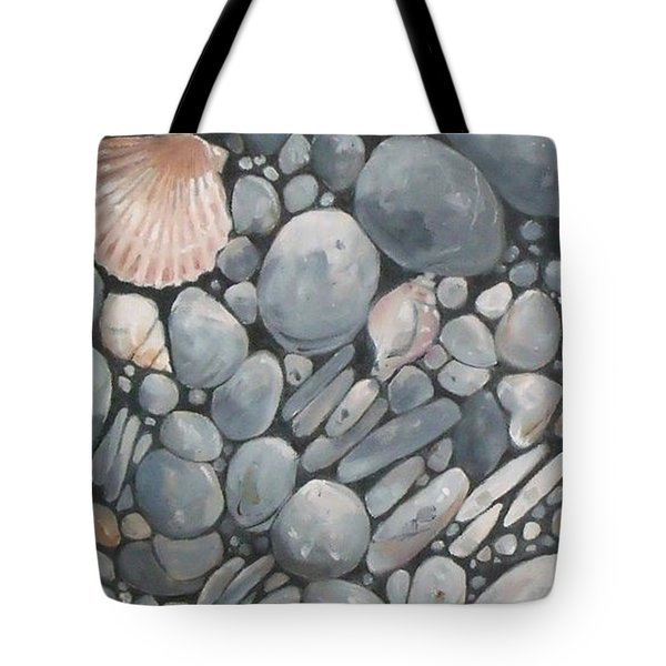 Scallop Shell And Black Stones Tote Bag