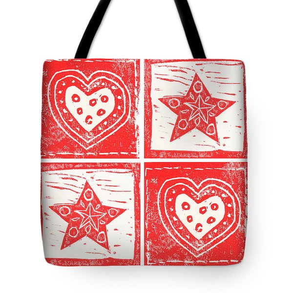 Scandinavian Hearts And Stars Tote Bag