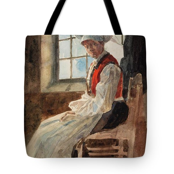 Scandinavian Peasant Woman In An Interior Tote Bag by Alexandre Lunois