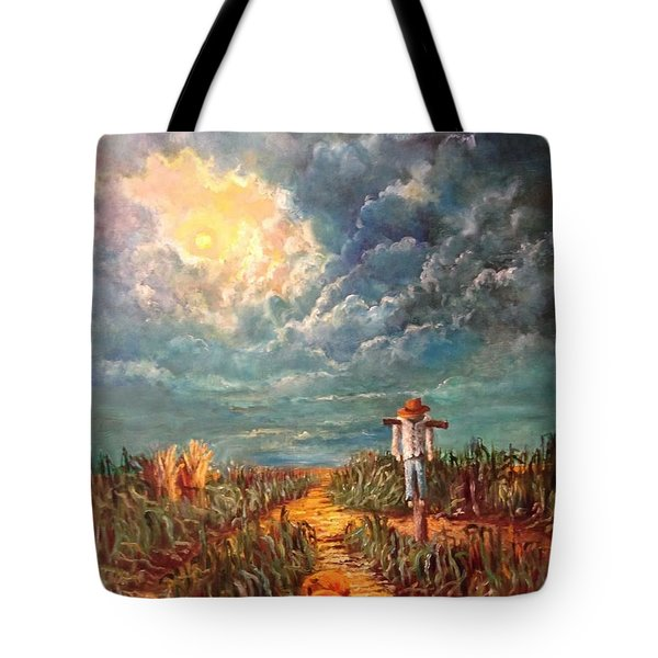 Scarecrow, Moon, Pumpkins And Mystery Tote Bag