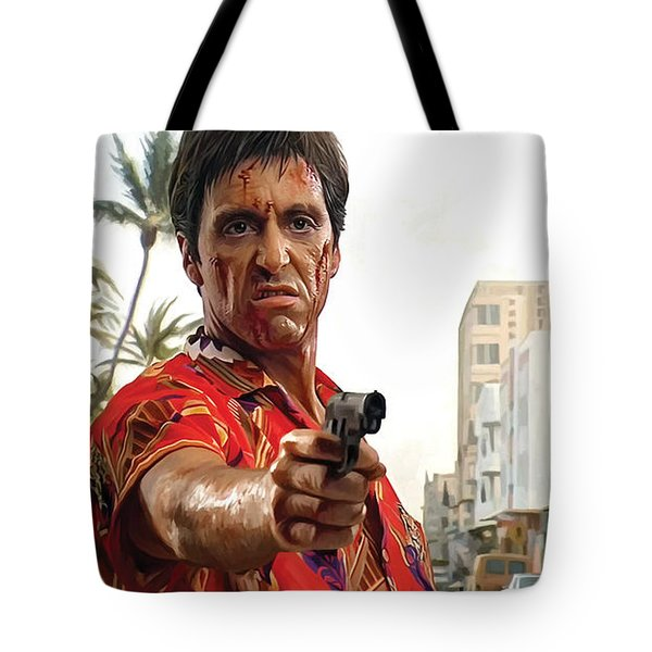 Tote Bag featuring the painting Scarface Artwork 2 by Sheraz A