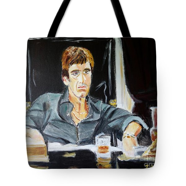 Tote Bag featuring the painting Scarface by Judy Kay