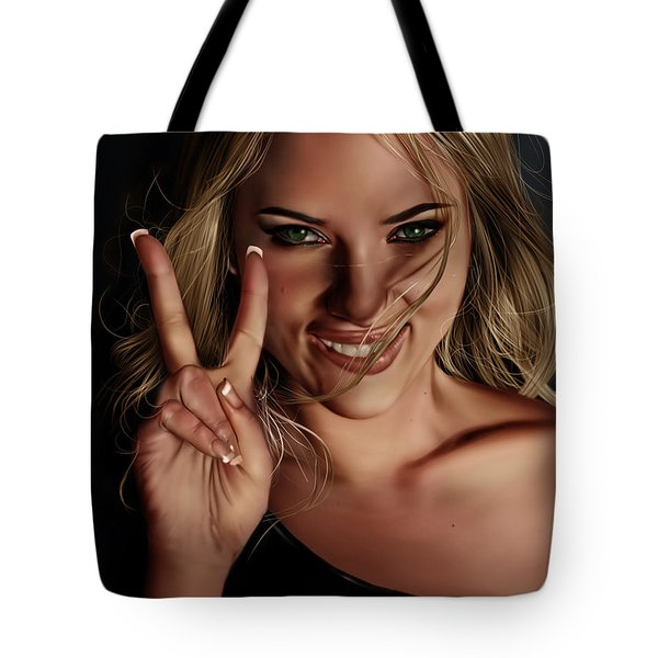 Tote Bag featuring the painting Scarlett by Pete Tapang