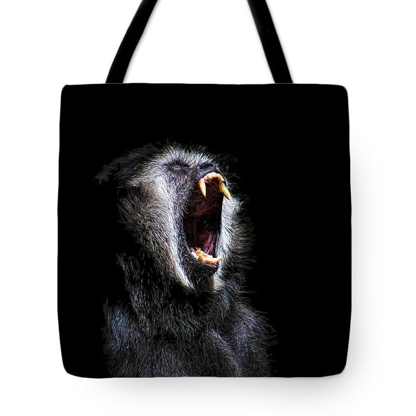 Tote Bag featuring the painting Scary Black Monkey Vicious Fanged Teeth by Tracie Kaska