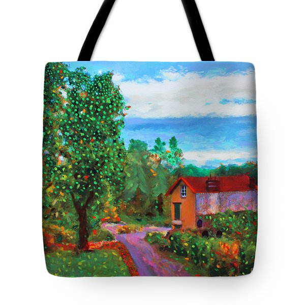 Tote Bag featuring the painting Scene From Giverny by Deborah Boyd