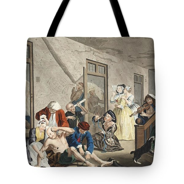 Scene In Bedlam, Plate Viii, From A Tote Bag by William Hogarth