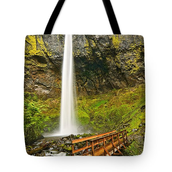 Scenic Elowah Falls In The Columbia River Gorge In Oregon Tote Bag