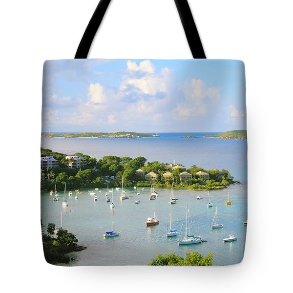 Scenic Overlook Of Cruz Bay St. John Usvi Tote Bag by Roupen  Baker