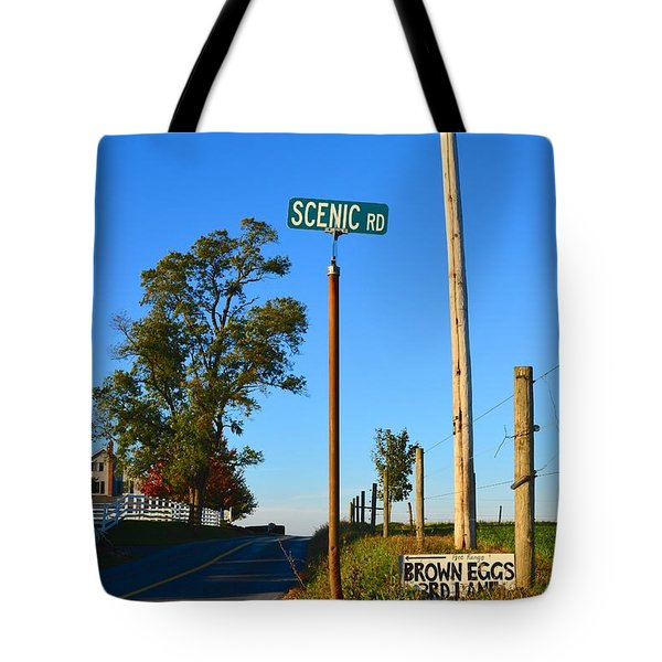 Scenic Road With Brown Eggs 3rd Lane Tote Bag