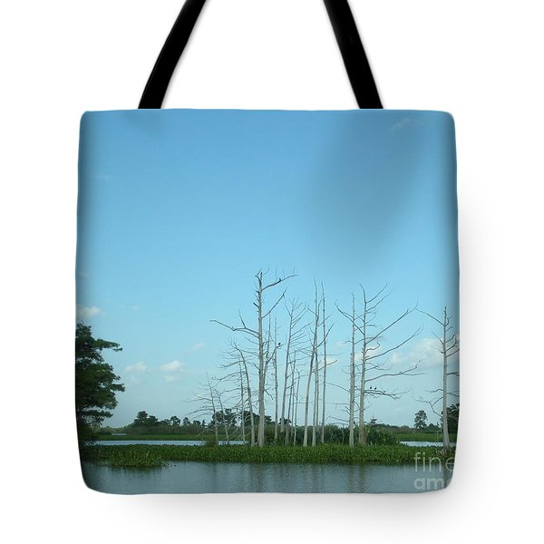 Tote Bag featuring the photograph Scenic Swamp Cypress Trees by Joseph Baril