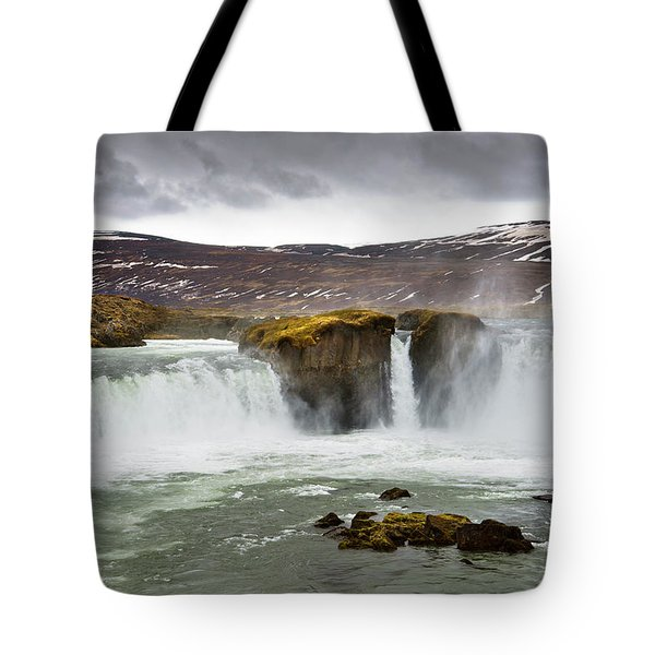 Scenic View Of Godafoss Waterfall Tote Bag