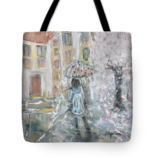 Tote Bag featuring the painting Scent Of Spring by Evelina Popilian