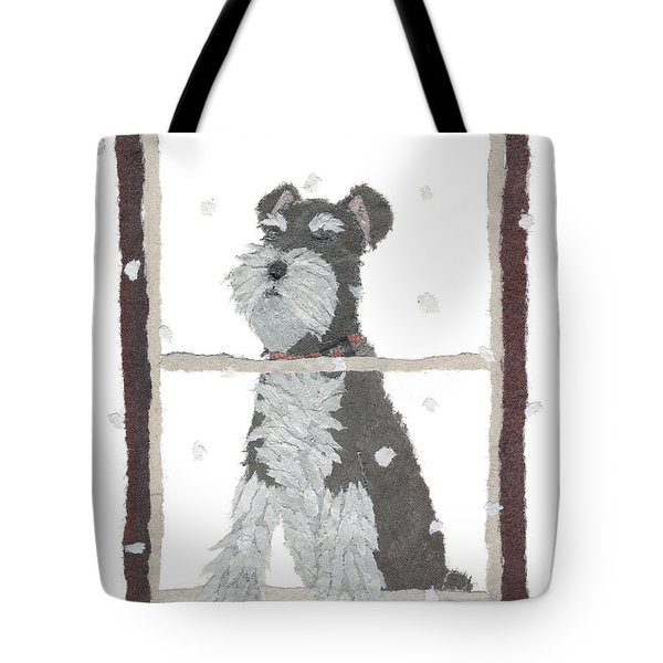 Schnauzer Art Hand-torn Newspaper Collage Art Tote Bag by Keiko Suzuki Bless Hue